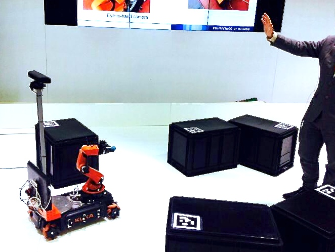 Team SCORPION from Politecnico di Milano, Italy performing their navigation of the youBot at AUTOMATICA 2014