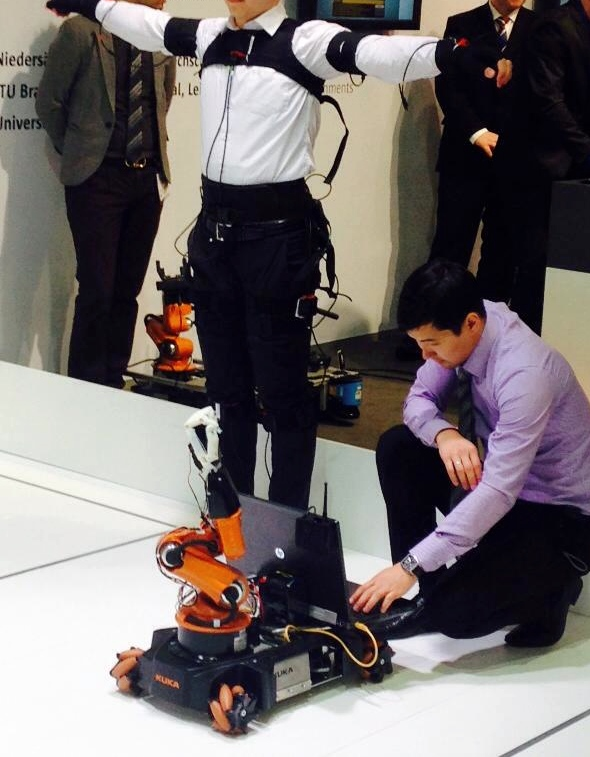 Team Tele-youBot from Nazarbayev University, Kazakhstan show how the youBot moves simultaneously with the person controlling it